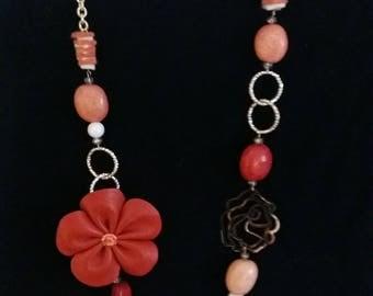 Necklace with Orange flower