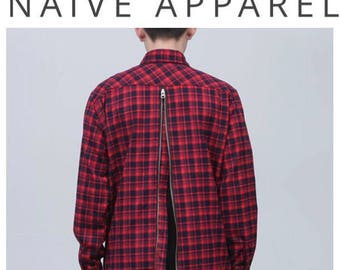 Naive Apparel Red Check Flannel Back Zip Shirt