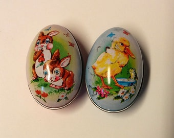 2 Empty Tin Lithographed Easter Eggs, Boyer Altoona Pa.