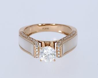 6.00 mm VVS-EF White Moissanite 0.22 ct Natural vs/si-gh Diamond | 10KT/14KT/18KT Rose Gold  IGI Certified Ring with White Mother of Pearl