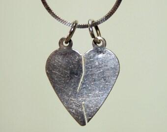 Vintage Sterling Silver Split Heart Necklace