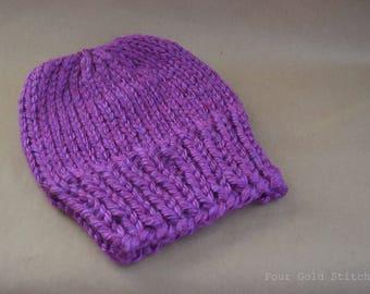 Chunky Knit Hat in Purple