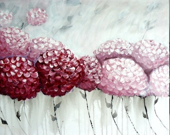 Painting original acryl hydrangeas flowers