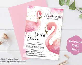 Flamingo Bridal Shower Invitation, Let's Flamingle Bridal Shower, Flamingo Invites, Flamingo Party Invitation, Pink and Gold Invitation, DIY