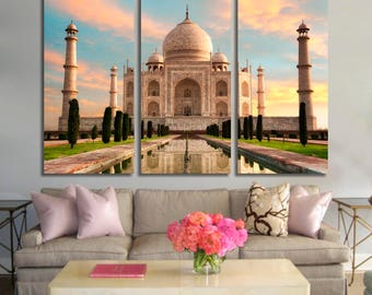 Taj Mahal Canvas Print India Wall Art India Panel Art India Cityscape Taj Mahal View Home Decor India Poster Print for Home Decoration