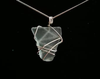Wire wrapped pale mint sea glass pendant