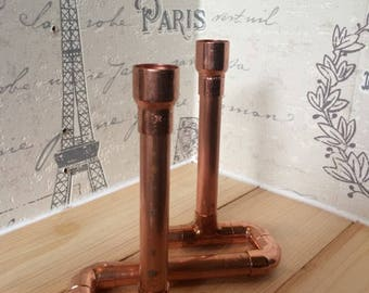 Double copper candlestick