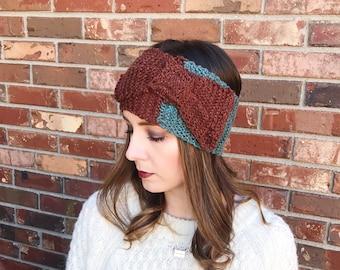 Earthy Bow Cable Knit Ear Warmer   Cable Knit Ear Band   Knit Headband   Warm Headwrap   Winter Headband   AuntBarbsBands