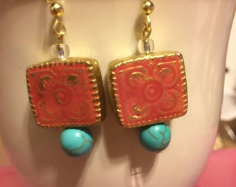 Pink Square & Turquoise Dangles