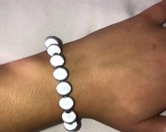Chunky Blue-grey Glow/Reflective Stretch Bracelet