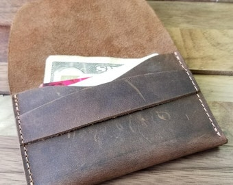 Leather Wallet , Front Pocket Wallet, Gift Ideas for Him/Her - Minimalist Wallet, Distressed Leather Wallet, can be personalized