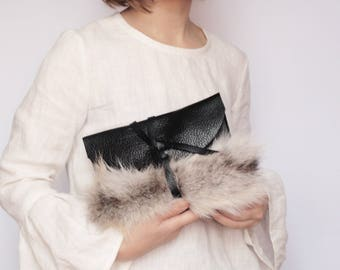 READY TO SHIP Black leather clutch with fur detail