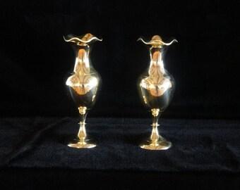 Brass Vase Pair, Vintage Brass Vases, Nautical Brass Vases, Brass Vase Set, Antique Brass Vases