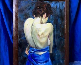 nude female 40cm x 60cm oil painting / original framed fine art / bedroom wall art / naked woman wall art / female figure oil painting