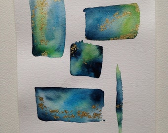 Watercolor Blue Green Gold