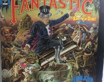 ELTON JOHN Captain Fantastic with Scraps, Lyrics, Poster   MCA 2142  Vinyl Record