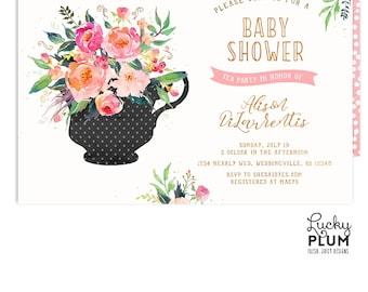 Tea Party Baby Shower Invitation / Couples Baby Shower Invitation / Kitchen Tea Invitation / Tea Party Invitation / High Tea Coed Spring
