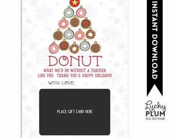Donut Gift Card Holder / Thanks A Latte Gift Card Holder / Starbucks Gift Card Holder / Teacher Appreciate / Dunkin Donut *Digital Download