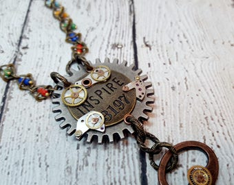 Steampunk Inspire Necklace, Key Necklace, Inspirational Jewelry, Steampunk Jewelry, Key Pendant, Inspire Necklace, Watch Parts, Beaded