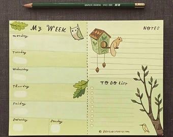 week PLANNER NOTEPAD, weekly planner notepad, personal organizer, personal agenda, planner pad, weekly planning notepad, home planner