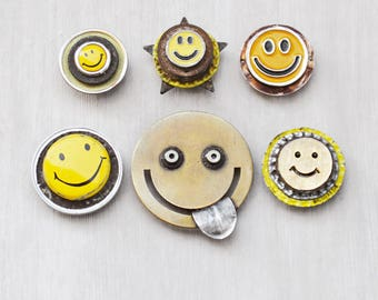 6 Happy Face Fridge Magnets - recycled bottlecaps, jewelry and junk - upcycled eco-friendly housewarming gift