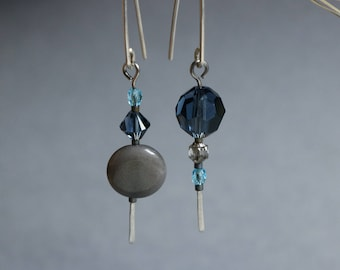 stainless steel earrings with gray tagua nut and montana blue crystals - minimalist dangle - hypoallergenic jewelry