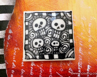 Day of the Dead Art / Halloween Art - Sugar Skulls Magnet -  Clay / Pottery 2X2 Hand Painted Ceramic Tile by artist, Cindy Couling