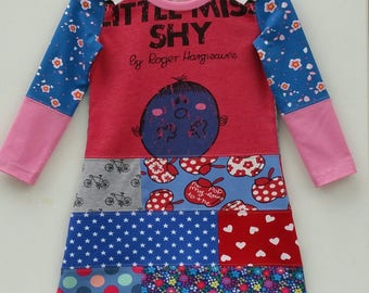 Size 3 upcycled toddlers little miss shy dress, girls clothing, children's clothing, gift, girls dress, ooak, retro, girls clothes, unique