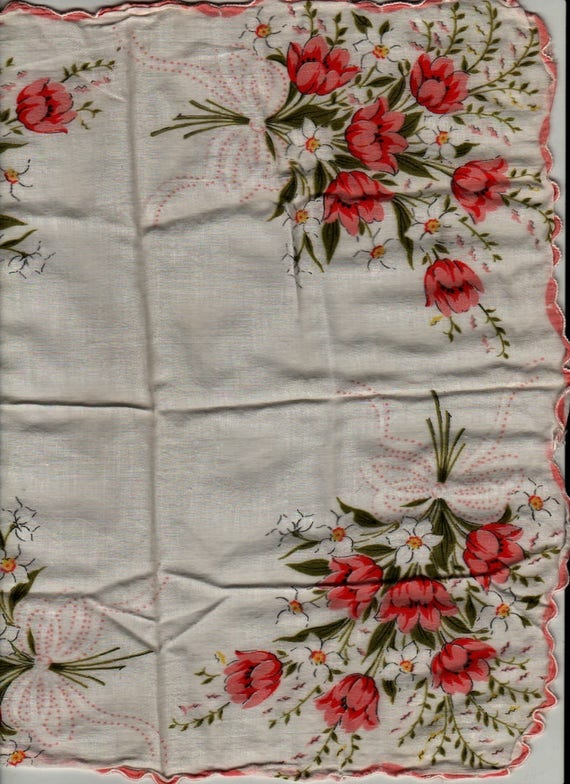 Pink and White Flowers with Ribbons Handkerchief - Vintage Linens