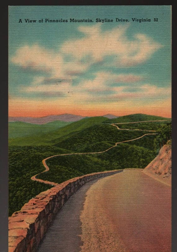 Pinnacles Mountains + Skyline Drive + Virginia + Vintage Tichnor Postcard