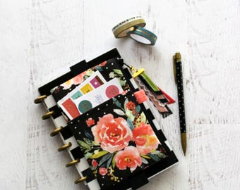 Black planner bag - floral planner cover - small planner accessories - mini happy planner - planner pocket pouch - ribbon tassel