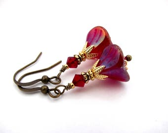 Bohemian Flower Earrings Holiday Dark Red Mixed Metals Antiqued Brass Gold Plated Dainty Dangle Drop Boho Wedding Bridal Winter Berry