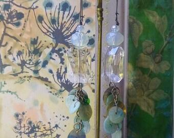 Mermaid Tail Earrings, Large Crystals, Seashell, Opalesque, Clear Glass, Beach Jewellery, Ocean, Dangle Earrings