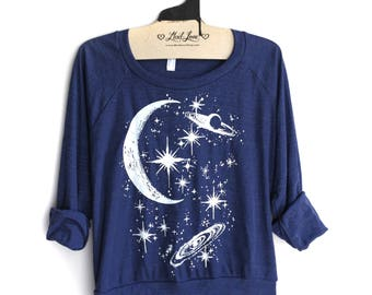 Medium - Navy Tri-Blend Sweatshirt with Crescent Moon Galaxy Screen Print