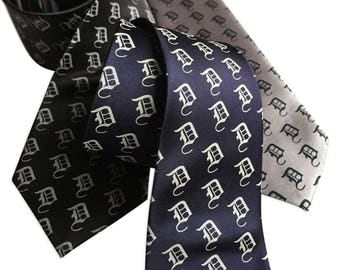 Old English D Necktie, D Dot Tie. Detroit baseball fan gift, Tigers fan gift, City of Detroit gift, shop local Detroit, Michigan made.