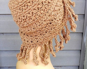 Crochet Wig Hat Crochet Hat, Cancer Hat Chemo Hat Cancer Beanie Hat, Cancer Hats for Women, Georgette Toasted Almond Beige Hat