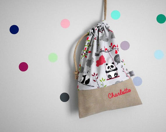 Customizable drawstring pouch - cuddly toy bag - name - kindergarden - panda - bamboo - gray - light red - green - slippers or toys bag