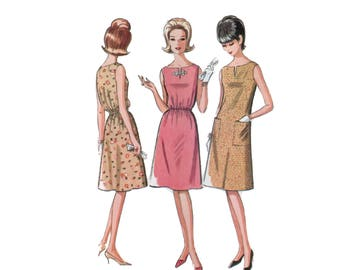 60s uncut Aline Dress Pattern vintage 34-26-36 Elastic Waist Dress pattern Sundress pattern A-line Dress Bust 38 McCalls 7188