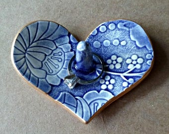 Ceramic Ring Holder Heart Bowl Blue  Damask edged in gold