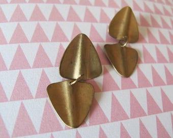 Triangle Brass Stud Earrings, Geometric Post Earrings, Brass Triangle Earrings, Dangle Brass Triangle Post Earrings, Minimalist Jewelry