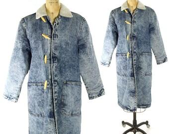 80s Acid Wash Sherpa Lined Denim Trench Coat / Vintage 1980s Stone Wash Long Jeans Jacket Faux Sheepskin Lining / Medium