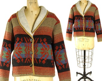 90s Southwestern Tapestry Jacket / Vintage 1990s Western Fleece Blanket Coat / Native American Pendleton Inspired Pattern / Medium