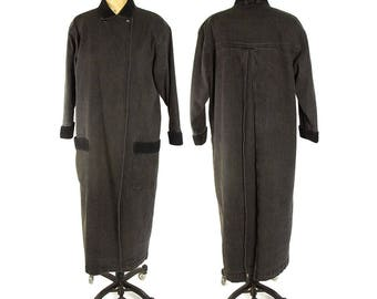 80s Black Denim Trench Coat / Vintage 1980s Long Jeans Jacket with Corduroy Collar & Cuffs / Punk Rocker Boho Avant Garde Maxi Length Coat