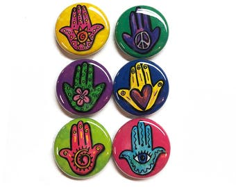 Hamsa Pin or Magnet Set - Hamsa Pinback Buttons or Fridge Magnets - Hand of Protection, Hand of Fatima, Heart in Hand