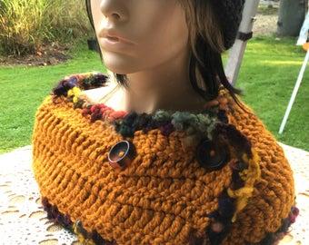 Gold Button Scarf Wool Crochet Scarf Multicolor Handspun Edging Wool Scarf Neckwarmer Crochet Cowl