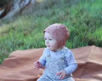 Linen Baby Bonnet in Rust, Neutral Baby Bonnet, Baby Girl Bonnet, Baby Boy Bonnet, Blue Corduroy Hats