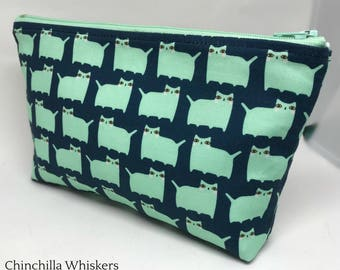 Double Zipper Pouch with Aqua Kitties on Navy