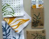Set of three Leafy Hankies :  botanical screenprinted cotton handkerchiefs