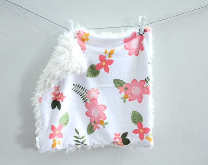 Coral Floral Lovey Blanket faux fur minky READY TO SHIP baby gift cloud blanket llama newborn gift plush photo prop toddler child