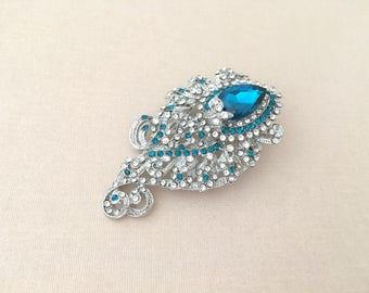 Teal Rhinestone Brooch.Teal Crystal brooch.Vintage Art Deco Style.Paisley.Teal Rhinestone Pin.Wedding accessory.Bridal Brooch.Teal broach
